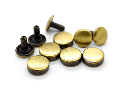 CRAFTMEmore 100 Sets 8MM 10MM 12MM Bronze Brush Gold Flat Head Tablet Double Cap Rivets Studs Leathercraft Decorative Rivet - Quality Plating (8 mm (5/16 Inch), VT)