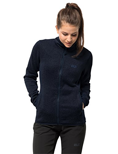 Jack Wolfskin Damen ELK Lodge Jacket Women Strickfleecejacke Fleecejacke, Midnight blau, L