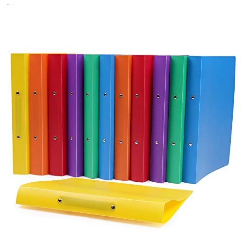 Set di 12 Raccoglitori Cartelle Ad Anelli A4 - Plastica PP di Alta Qualità - con 2 Anelli, 25mm di Capacità - Morbidi e Flessibili - Colori Assortiti - per Uso Domestico, D'ufficio e Scolastico