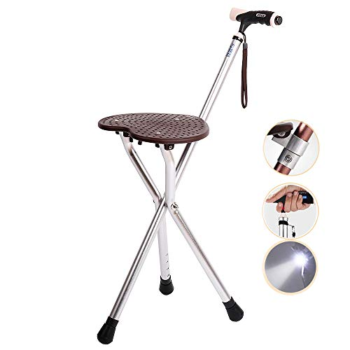 Walking Stick with Seat Folding - Walking Cane Seat 300 lbs Capacity with LED Light Adjustable Height for Elder Gift