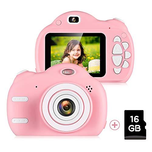 ZEEPIN Cámara para Niños, Cámara Digital 1080P HD Recargable Pantalla LCD de 2,4 Pulgadas con Tarjeta TF 16G (Rosa)