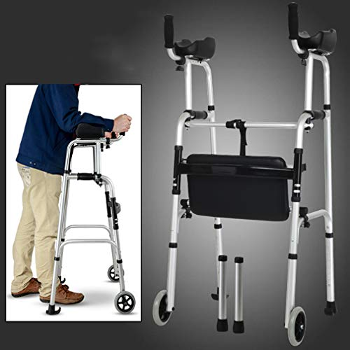 Antriebshilfen 2 Räder Faltbar, Rollator Walker Mit Doppelbremssystem, Medical Rolling Walker 7 Höhenverstellbar Zum Gehen Für Senioren,B
