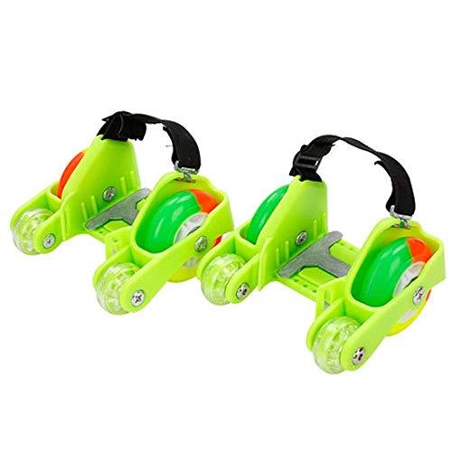 CYGJLYZ Quad Skates Roller Skates Kinder Adjustable 4-Rad Flash Hot Wheels Schuhe Skateboard Inline Skates Student Travel Roller Schuhe Drift (Color : Green)