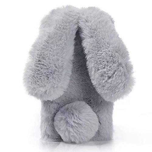 Nadoli Custodia per Huawei P30 PRO,Inverno Orecchio di Coniglio Faux Bunny Fur Morbido Carina Soffice Peloso Indietro Astuccio Caso Cover per Huawei P30 PRO,Grigio