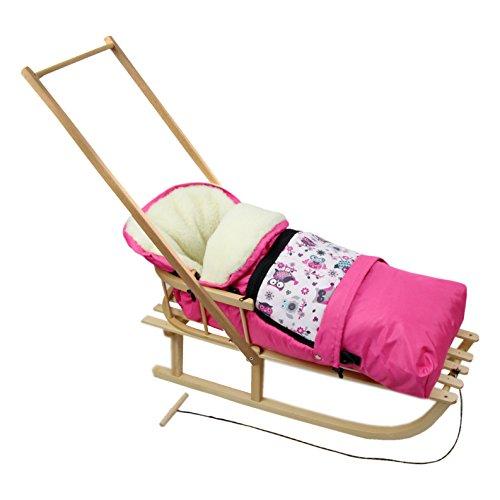 Rawstyle *KOMBIPAKET* HOLZSCHLITTEN mit Rückenlehne incl. Zugleine + WINTERFUSSSACK 3 in 1 aus Lammwolle für Kinderwagen Wolle - Lehne -Kinderschlitten - Schlitten aus Holz NEU (Eulen §1)