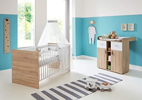 moebel-dich-auf Babyzimmer Komplettset/Kinderzimmer komplett Set Elisa Verschiedene Varianten in Eiche Sonoma/Weiß (Elisa 5)