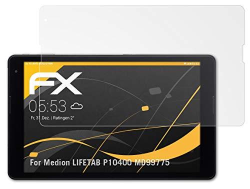 atFolix Panzerfolie kompatibel mit Medion LIFETAB P10400 MD99775 Schutzfolie, entspiegelnde & stoßdämpfende FX Folie (2X)