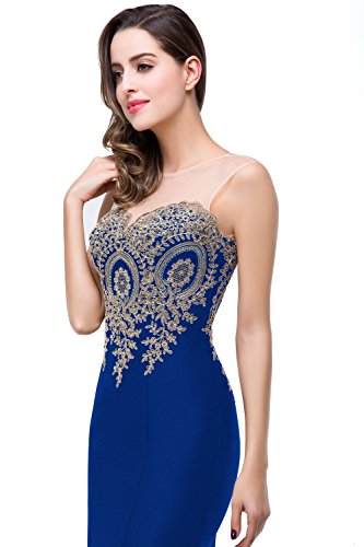 Women's Sleeveless Appliques Mermaid Long Evening Gowns Prom Dress, 8, Royal Blue