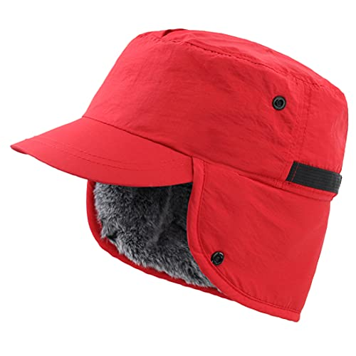 Connectyle Unisex Winter Hat with Visor Warm Earflap Hat Faux Fur Baseball Skully Cap for Women Red
