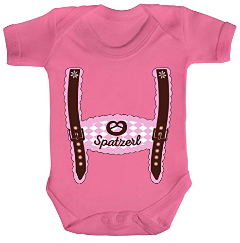 ShirtStreet Wiesn Strampler Bio Baumwoll Baby Body Kurzarm Jungen Mädchen Oktoberfest - Mädchen Lederhose Spatzerl, Größe: 6-12 Monate,Bubble Gum Pink