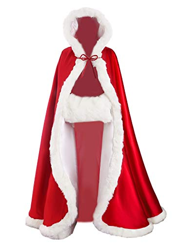 Wedding Cape Hooded Cloak for Bride Winter Reversible with Fur Trim Free Hand Muff Full Length 55'' Apple Red