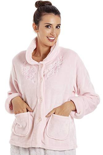 CAMILLE Weiche warme Damen Fleece-Bettjacke mit Knopfleiste 46/48 Pink Floral