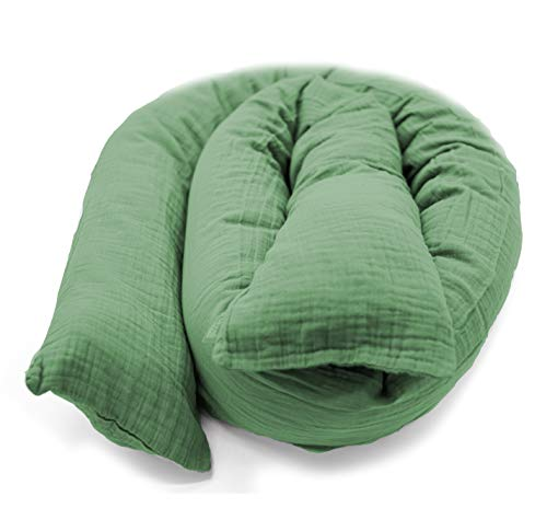 Mizali - Bettschlange 300 cm - mit Reißverschluss - abnehmbarer Musselin Bezug - waschbar - Bettumrandung Babybett Kantenschutz Kinderbett (300 cm, Blassgrün)