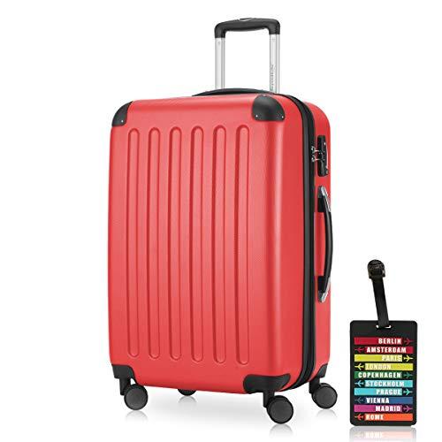 HAUPTSTADTKOFFER SPREE 1203 Maleta rígida, 3 tamaños (49 litros, 82 litros, 128 litros), mate, cerradura de combinación TSA, etiqueta de equipaje, rojo (Rojo) - B019FD74B0