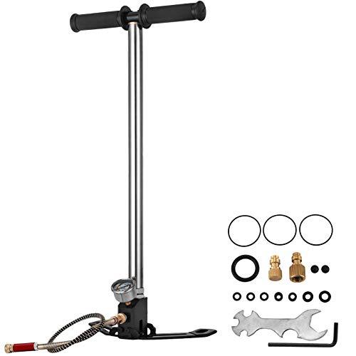 VEVOR Dreistufige Hochdruckluftpumpe 4500psi, Handpumpe Tragbare 30MPa, Luftpumpe Hochdruck Fahrradpumpe Luftpumpe für E-Bike Mountainbike Rennrad Komplettes Zubehör