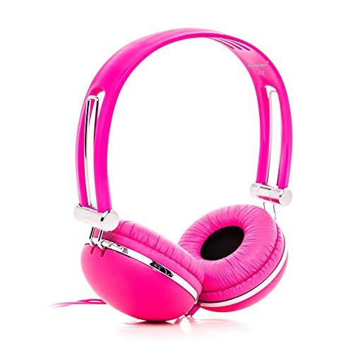 Rockpapa XJY Cuffie con cavo per Bambini/Adulti, Regolabile, On-Ear per Phone, Tablet, MP3/4, DVD, iPod, iPad Rosa