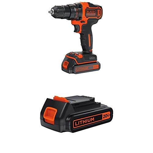 BLACK+DECKER 20V MAX Cordless Drill/Driver Variable Speed with Extra 1.5-Ah Lithium Battery (BDCDD220C & LBXR20)