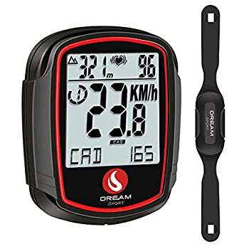 DREAM SPORT Wireless Bike Computer with Cadence Speed Sensor Heart Rate Monitor Speedometer Odometer with Backlight Altimeter HRM Calories Black  DCY438