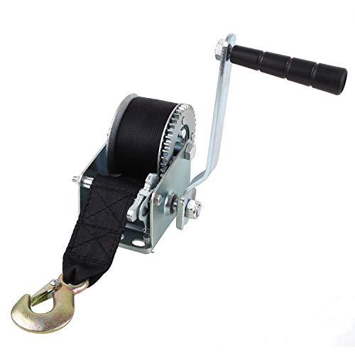 FIXKIT Cabrestante para Remolque Cabrestante para Barcos Cabrestante Manual Fuerza de Tracción 1300 lbs Color Negro