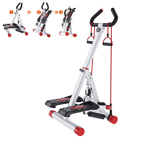 Stepper, Home Aerobic Handrail Steppers Full Folding New Fitness Equipment, 4 Levels Adjustable Suitable for Different Heights Stovepipe Stepper