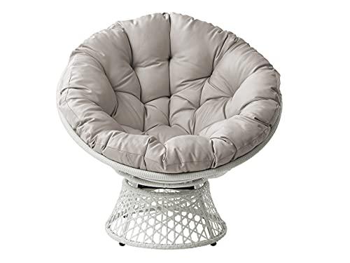 Mirjan24 Papasansessel Acapulco, Gartensessel, Drehsessel, Korbsessel, Balkonstuhl, 360 Grad Metalldrehmechanismus Sessel, Round Sit, Kissen wasserabweisend (Weiß/Grau)