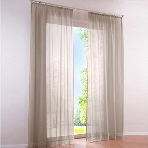 HongYa 1er-Pack Uni Gardine Transparenter Voile Schal Vorhang mit Kräuselband H/B 225/145 cm Hellbraun