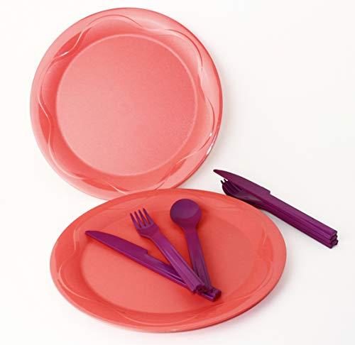 Junge Welle TUPPERWARE Teller Picknickteller 2X Apricot + 2X Besteck Lila 3er Set + Kugelschreiber