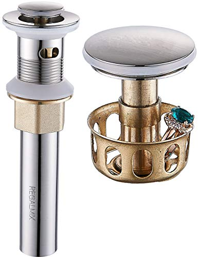 REGALMIX Vessel Sink Drain, Bathroom Faucet Vessel Sink Pop Up Drain Stopper, Built-In Anti-Clogging Strainer, Brushed Nickel with Overflow,Fits Standard American Drain Hole(1-1/2' to 1-3/4') R086J-BN