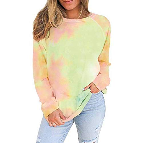 QSDM T-Shirt Girocollo a Maniche Lunghe da Donna Felpa da Donna Pullover Crew Maglione a Maniche Lunghe Stampato Autunno e Inverno Girocollo da Donna Taglie Forti-Verde_S