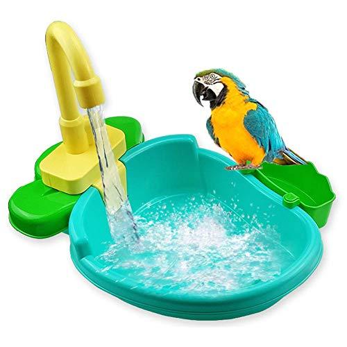 FYBlossom Automatische Vogel Badewanne,Vogelspielzeug Wellensittich-Spielzeug Bad Dusche Wasserspender Vogelkäfig Badezimmer Spielzeug Wasserhahn Vogel Cag Für Papagei (Blau)