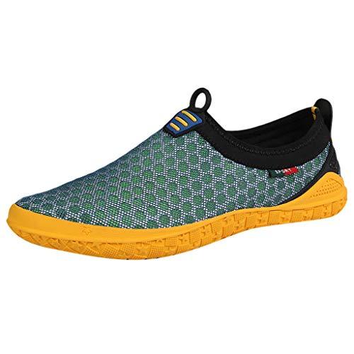 AIni Herren Schuhe Sale Mode Beiläufiges 2019 Neuer Heißer Sommer Watschuhe Mesh Atmungsaktive Schuhe Upstream Freizeit Sportschuhe Freizeitschuhe Partyschuhe (41,Grün)