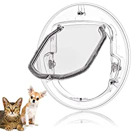 Bewinner Door Pet Gate,Cat Flap Door, 4 Way Locking Cat Doors,Small Pet Door for Cats, Small Dogs, Puppy,Beautiful Decoration for Glass Window and Door