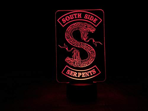 3D Illusion Lampe Led Nachtlicht Riverdale South Side Serpents Snake Logo Tv Serie Schlafzimmer Dekor Freund Geburtstagsgeschenk Hauptdekoration Kinderschlaflampe