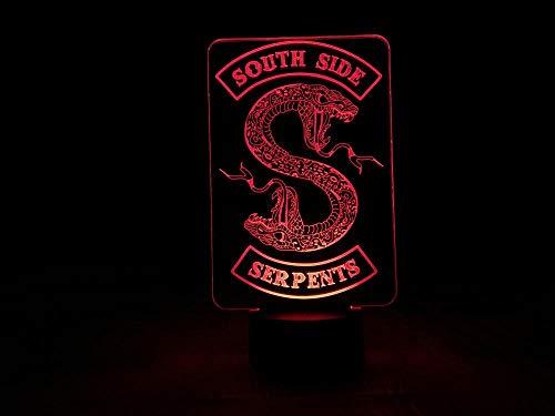 3D Illusion Lampe Led Nachtlicht Riverdale South Side Serpents Snake Logo Tv Serie Schlafzimmer Dekor Freund Geburtstagsgeschenk Hauptdekoration Kinderschlaflampe