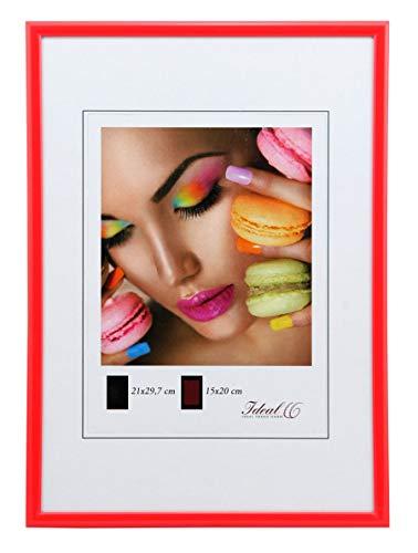 Ideal Trend Kunststoff Bilderrahmen 10x15 cm bis 50x70 cm Bilder Foto Rahmen: Farbe: Rot | Format: 50x70