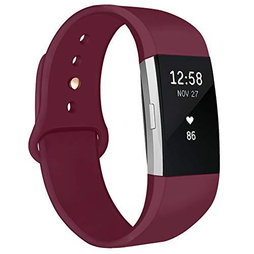 Kmasic Armband kompatibel für Fitbit Charge 2, Weiches Silikon Sport Armbänder Zubehör Armband für Fitbit Charge 2, Frau Männer, Groß, Weinrot mit Goldknopf