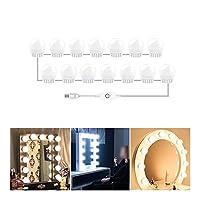 デスクランプ 3つのモード色の化粧鏡の光LEDタッチ調光虚栄心包みテーブルランプの電球 USB 12Vミラーウォールランプを作る ledデスクランプ (Emitting Color : Nature White 10Bulbs)