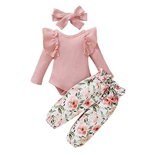 Conjunto de Ropa de Punto para niñas bebés Top de Mameluco con Volantes + Pantalones Florales + Diadema con Lazo para el Pelo Otoño Invierno Conjunto de 3 Piezas