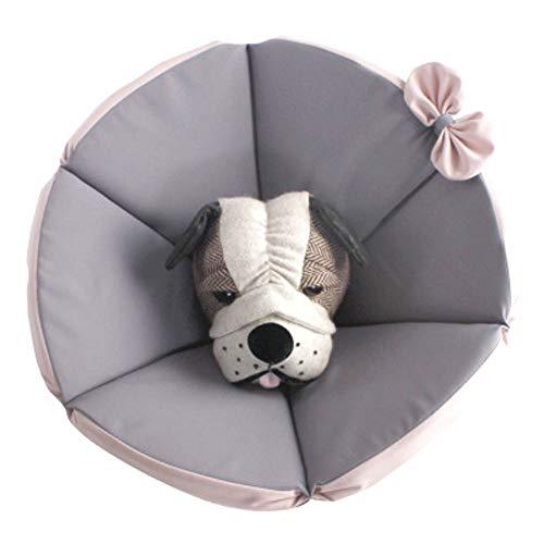 Komii エリザベスカラー 犬用 猫用 特大 軽量 布製 柔らかい 防水 耐久性 傷口保護 傷舐め防止 引っ掻き防止 調節可能 小型中型の大型犬猫に適しています (S, グレー)