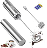 Milk Frother Handheld, Battery Operated Travel Coffee Frother Milk Foamer Drink Mixer with 2 Stainless Steel Whisks for Hot Chocolate, Batteries Included, Silver