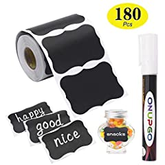 💖 WIDE RANGE OF USE: Totally 180pcs waterproof reusable chalkboard labels works for jars, organizing, labeling pint mason Jar, cookie, canning, jelly jars, spice jars, spray bottle, water or shaker Bottle, wine glasses, coffee or tea tin boxes, canis...