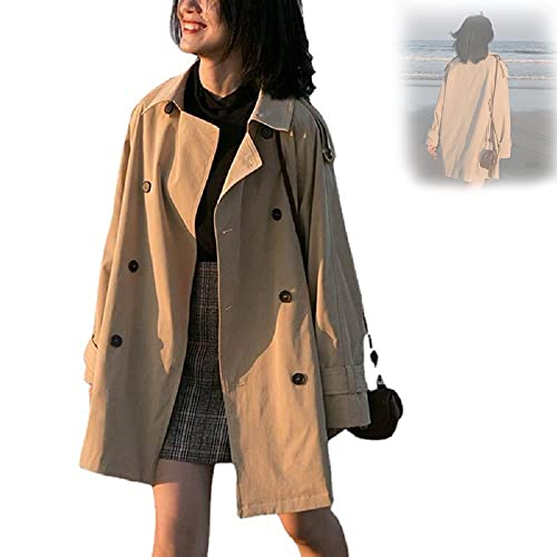 2021 Donna Casual Trench Coat Giacche Autunno Donna Sciolto Cappotto Tooling Giacca Windbreaker (2XL)