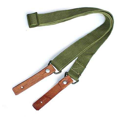 ANQIAO Replica Type 56 Webbing Sling SKS Shoulder Strap Bandolier Green with Leather Ends Vintage Style (Green)