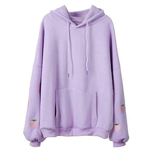 JMSXXL Harajuku Strawberry Embroidery Lavender Pink Sweatshirt Autumn Winter Women Loose Long Sleeves Tops Oversized Hoodies