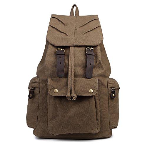 Uomo Donna Vintage Tempo libero Moda Canvas Escursionismo Viaggi militare zaino Messenger Tote Bag Video Portatile Custodia Outdoor Living Fashion Bag Student Schoolbag Size 30*48*15CM (verde dell'esercito)