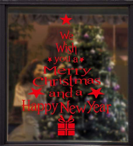 Tuopuda Stickers Finestra Natale Vetrofanie Lettera Albero Di Natale Adesivi Elettrostatici Senza Colla Adesivi Statico Per Finestre PVC Natale Wallpaper