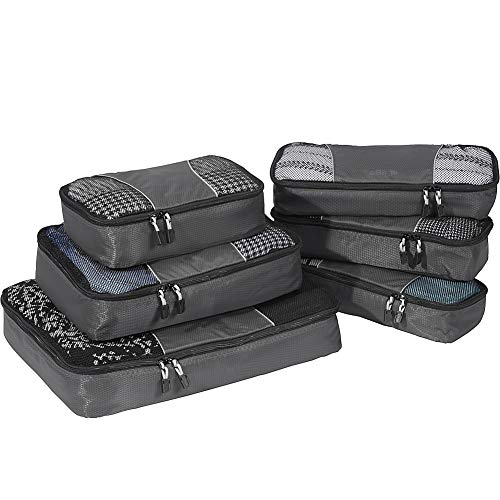 eBags Classic Packing Cubes for Travel - 6pc Value Set - (Titanium)