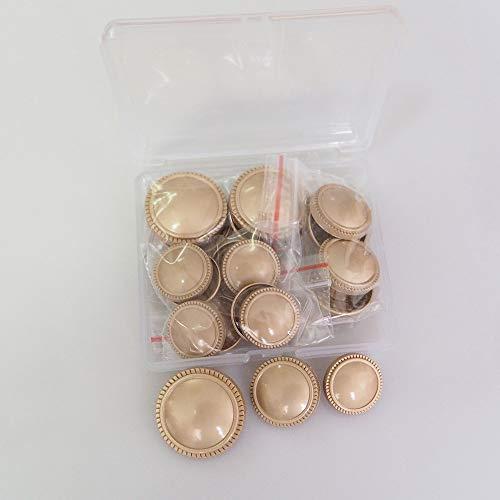 Wfeiyanton ボタン ファッションボタン メタルボタン 洋服用 コート用ボタン 交換 修理 DIYハンドクラフトアクセサリー 衣類素材アクセサリー 18mm/20mm/25mm 16個セット 収納ボックス付き (ゴールド)