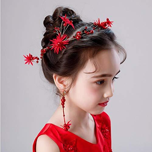 Nieuwe Meisjes Prestatie rode Jurk Hoofdtooi Oorbellen Set Kinderen Verjaardag Gift Prinses Roze Haaraccessoires Haarband Vrouwen
