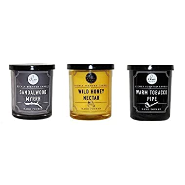 Dw Home Scented Candle Set - Warm Tobacco Pipe, Wild Honey Nectar and Sandalwood Myrrh - Single Wick 4 Ounces each.